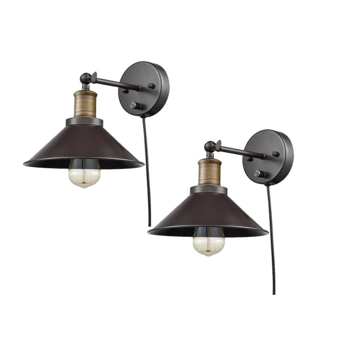 Industrial Bronze Swing Arm Plug-in Wall Lights 2 Pack