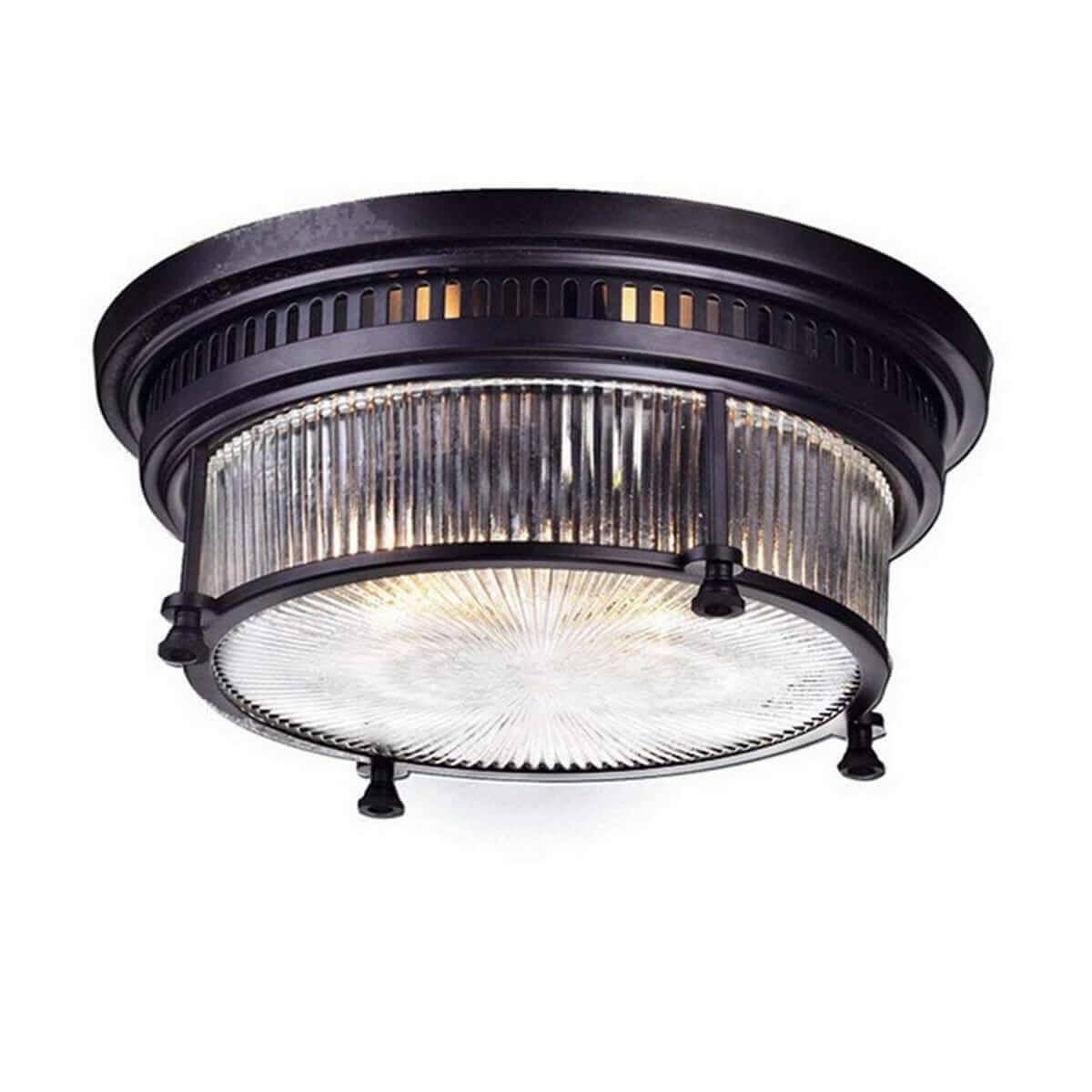 Vintage Bronze Ceiling Light 2 Light Textured Glass Fixture