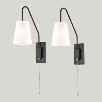 Industrial Wall Lamps Plug in Hardwired Fabric Shade Lights 2 Pack