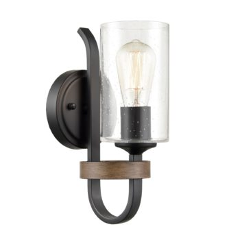 Industrial Wall Sconce Seeded Glass Shade with Wood Grain Finish