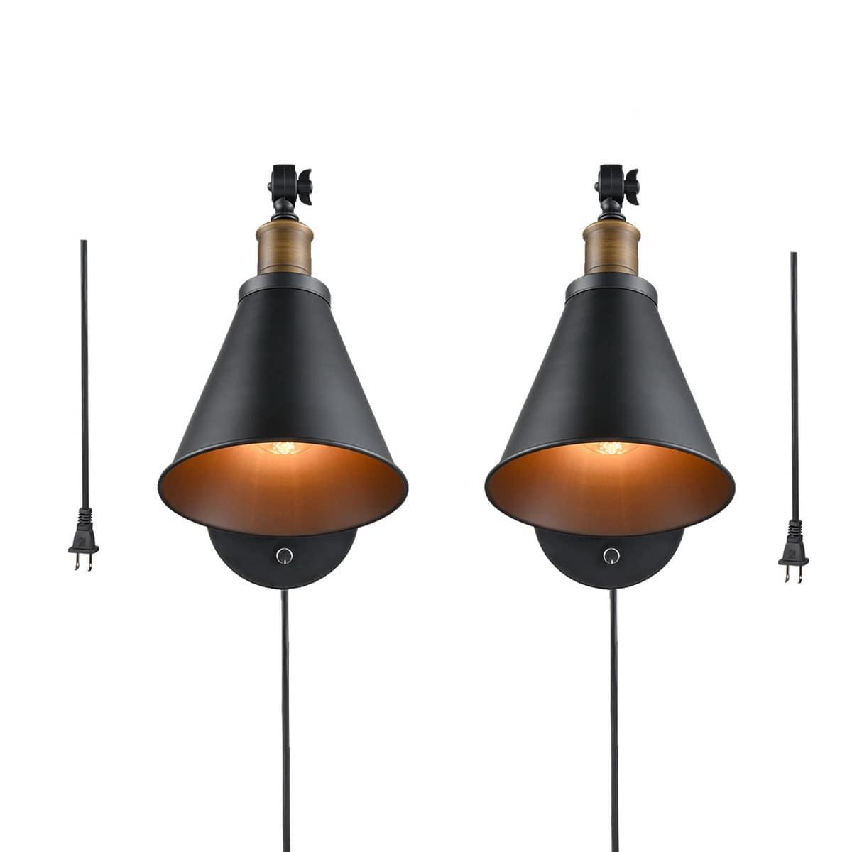 Industrial Black Plug-in Wall Lights Set of 2 Swing Arm Lamps