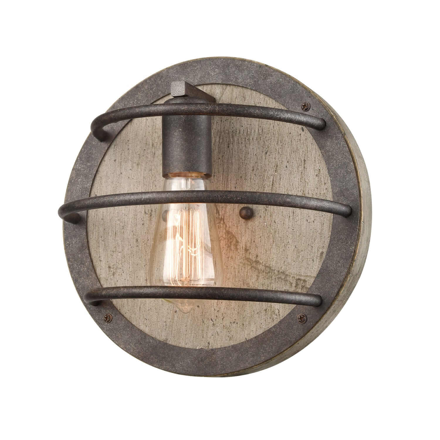 Farmhouse Wall Sconce with Wooden Round Shade Rust Finish
