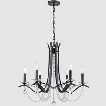K5 6-Light Crystal Chandelier Lighting Raindrop Black Pendant Light