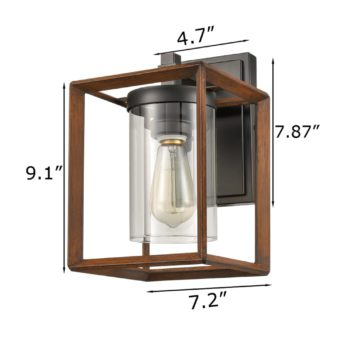 Industrial Lantern Cage Wall Sconce with Clear Glass Shade