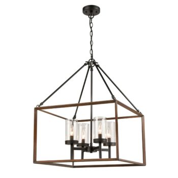 Farmhouse Rectangular Lantern Pendant Chandelier Wood Grain Finish