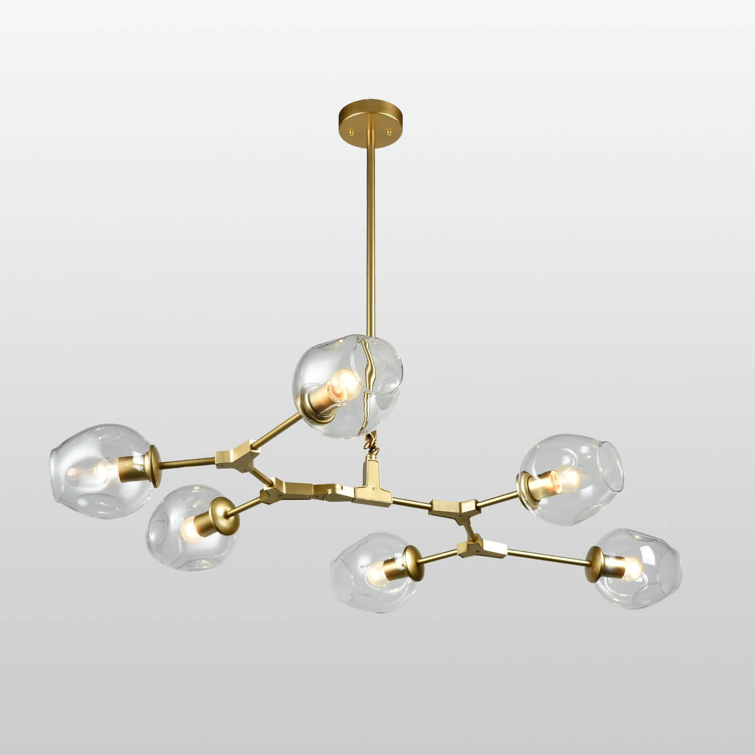 Modern Chandelier Gold Dinging Room Fixture with Clear Glass - 6 Light