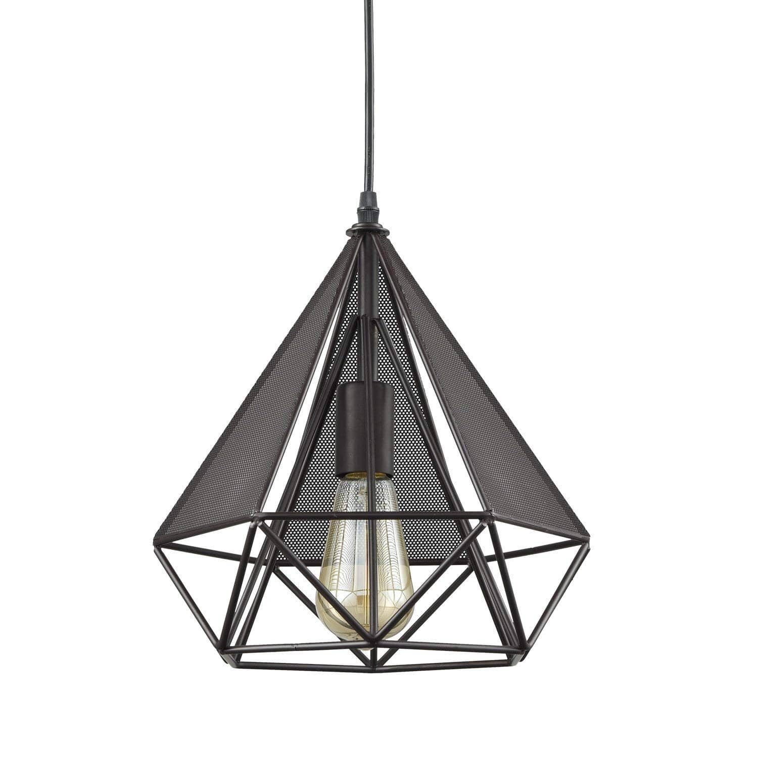 Farmhouse Polygon Wire Cage Pendant Light Loft Style