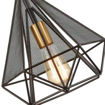 Modern Polygon Wire Cage Pendant Light Brass Socket