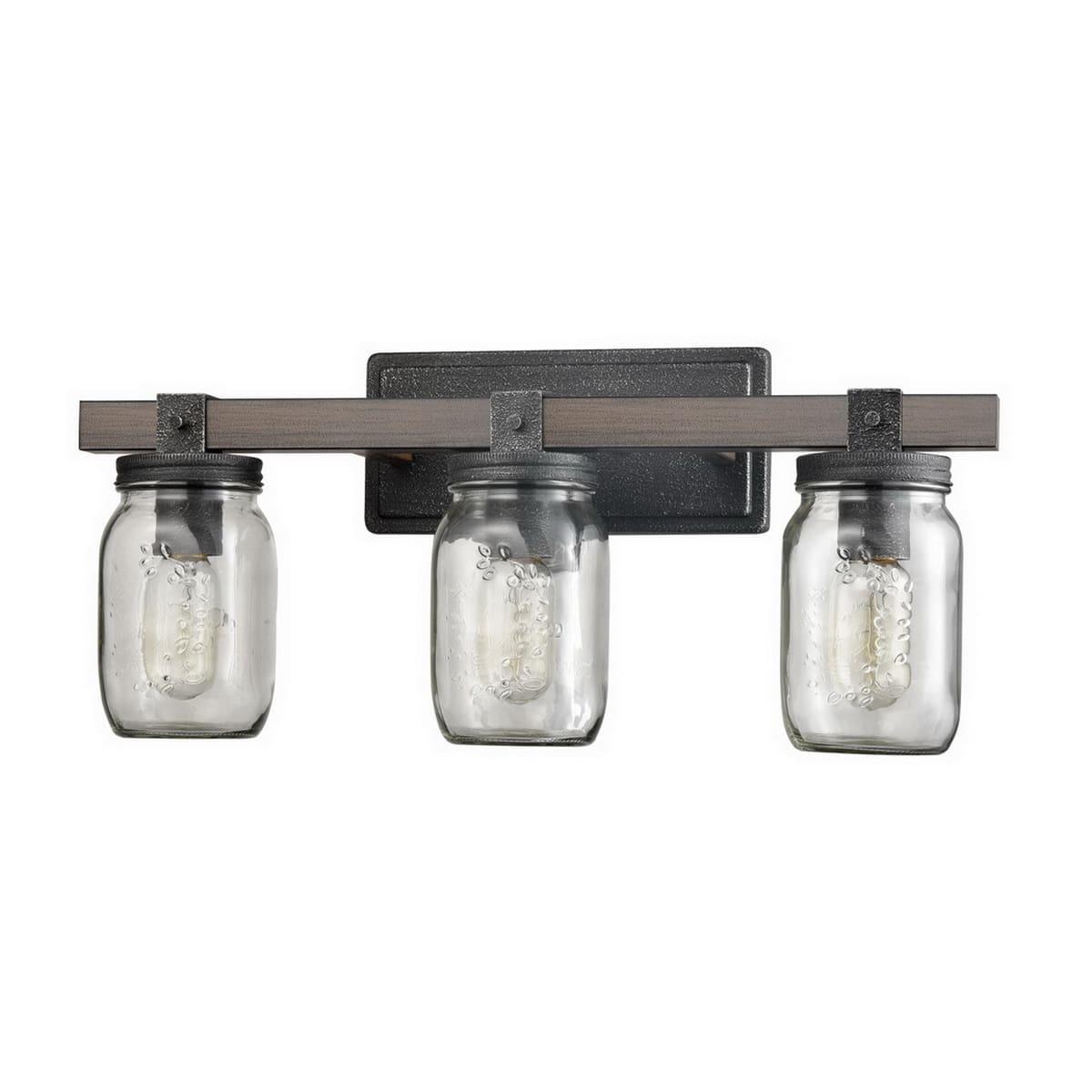 Vintage Mason Jar Bathroom Vanity Lighting 3-Lights