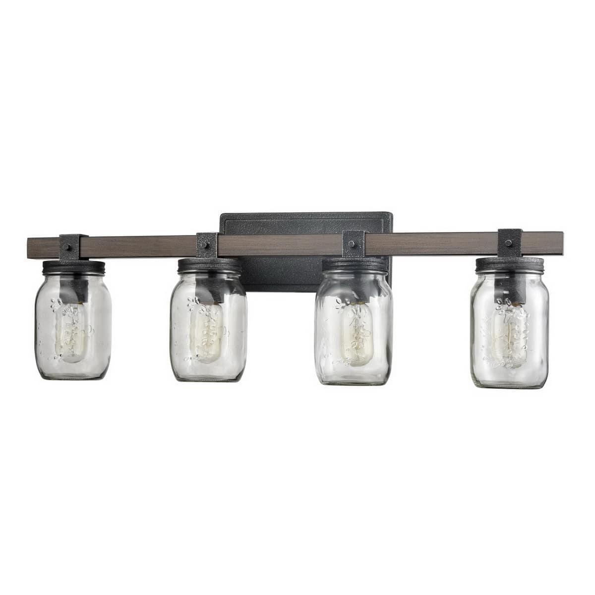 Vintage Mason Jar Bathroom Vanity Lighting 4-Lights
