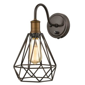 Metal Cage Goose-neck Plug-in Wall Sconce Set of 2