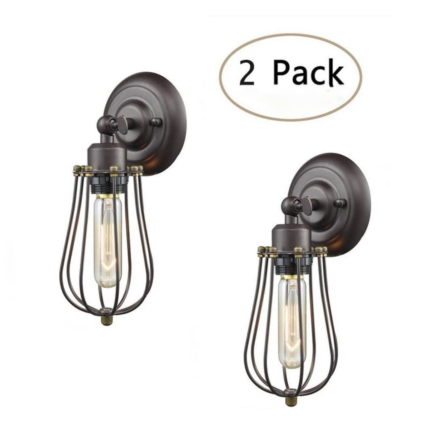 Industrial Bronze Wire Cage Wall Sconces mini 2 Pack Lamps