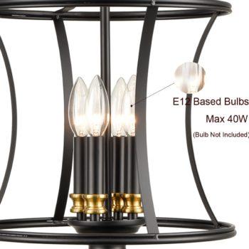 Metal Lantern Pendant Light 4-Light Black Chandelier Lighting