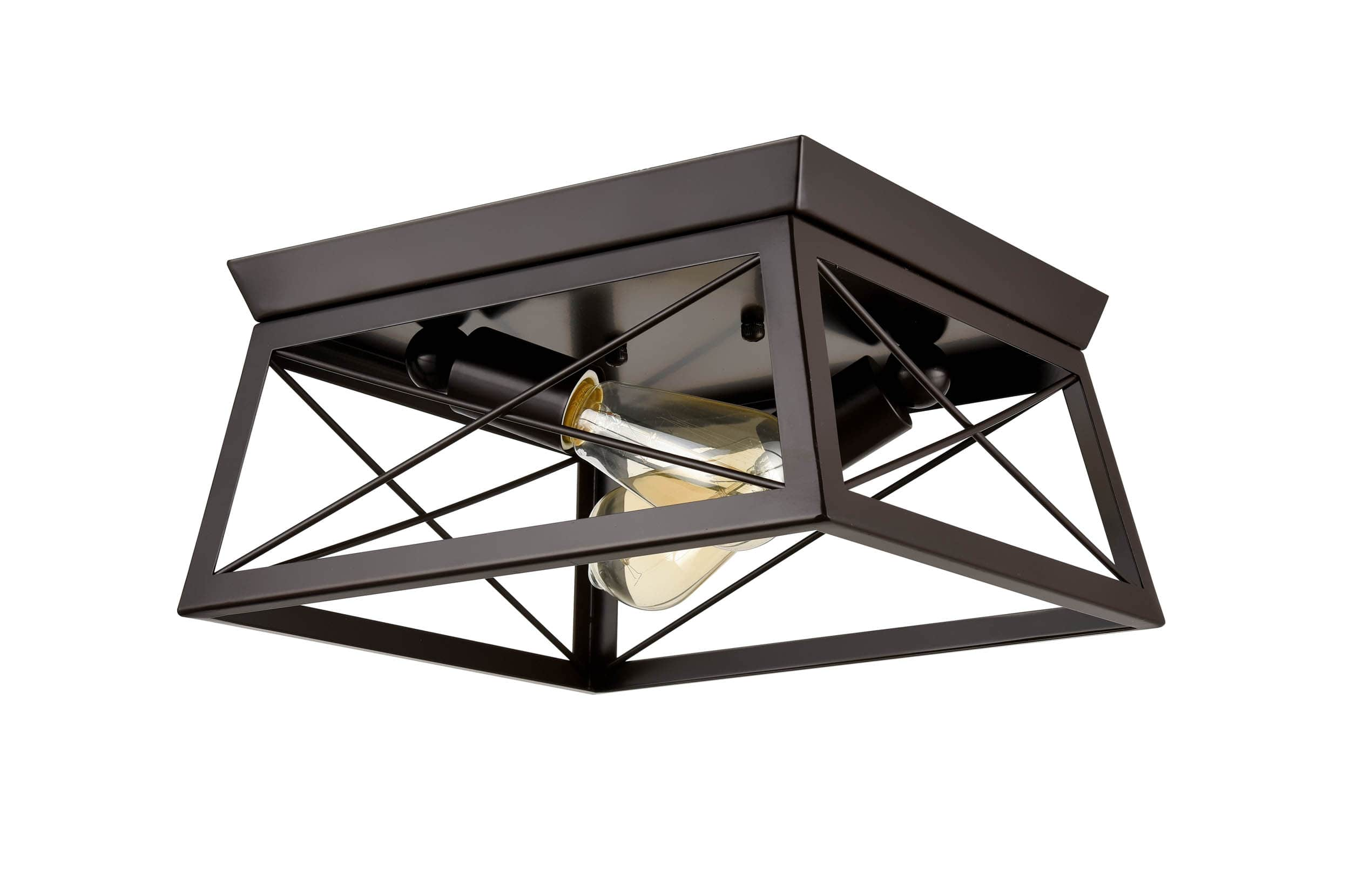 Industrial Rectangle Bronze Flush Mount Ceiling Light - 2 Light