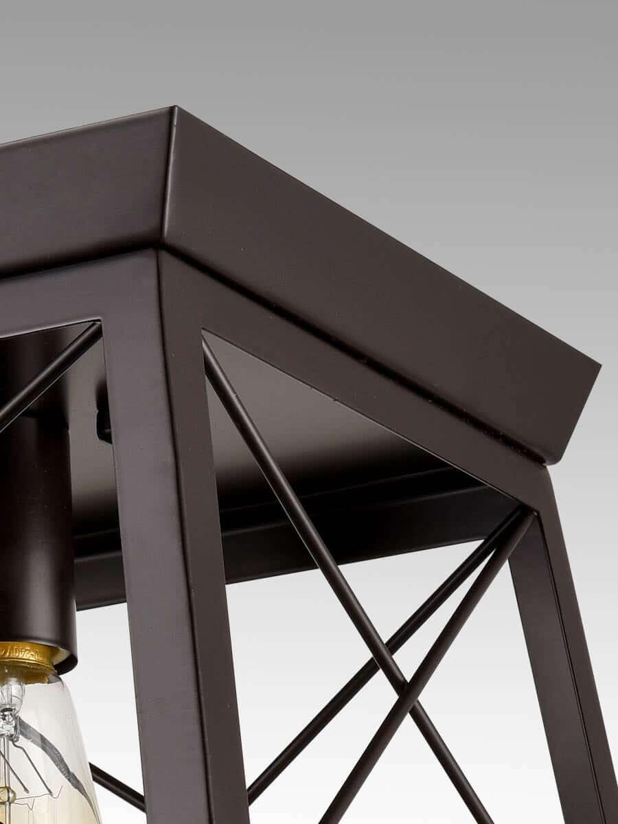 Industrial Rectangle Bronze Flush Mount Ceiling Light - 1 Light