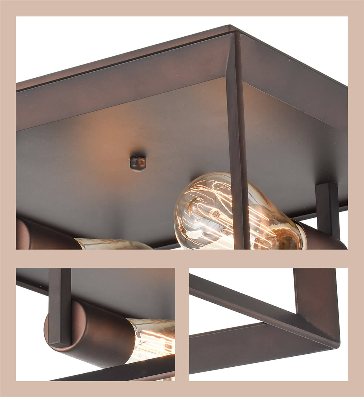 Metal Square Cage Flush Mount Ceiling Lights, Rubbed Bronze