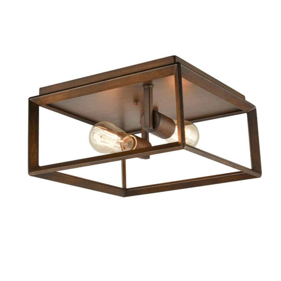 Rustic Square Cage Flush Mount Ceiling Light-2 Light