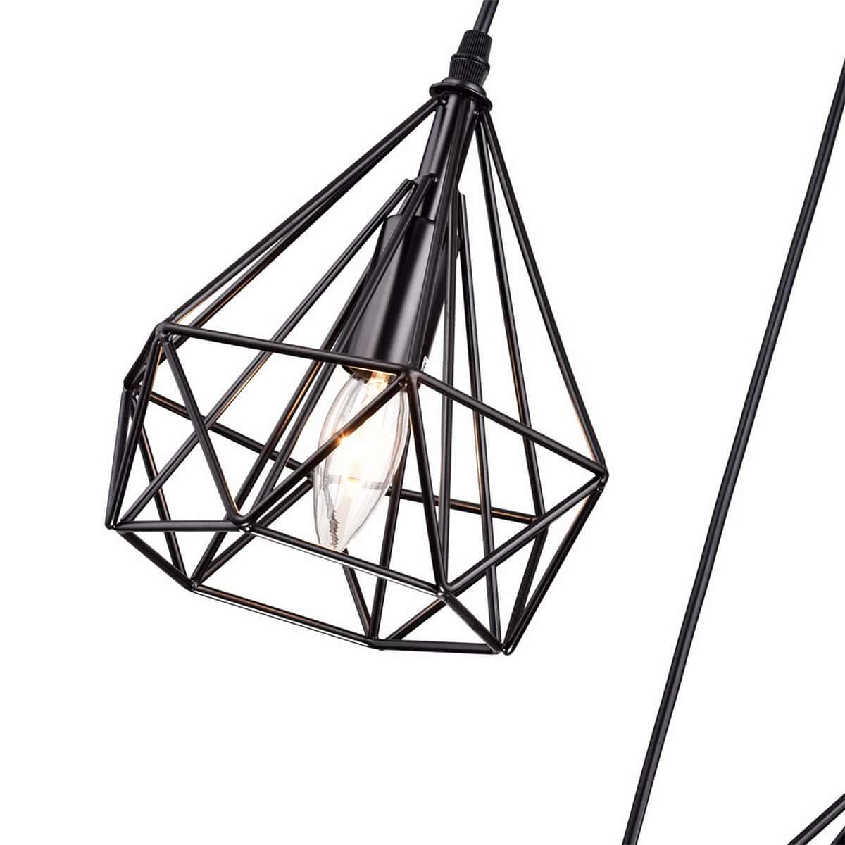 3-Light Cluster Kitchen Pendant Lighting, Metal Wire Diamond Shade