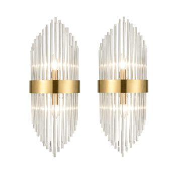 Mid Century Brass Glass Rods Wall Sconce 2 Pack Modern Luxury-Look