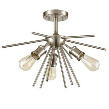 Mid Century Ceiling Light Sputnik Chandelier Fixture Brushed Nickel