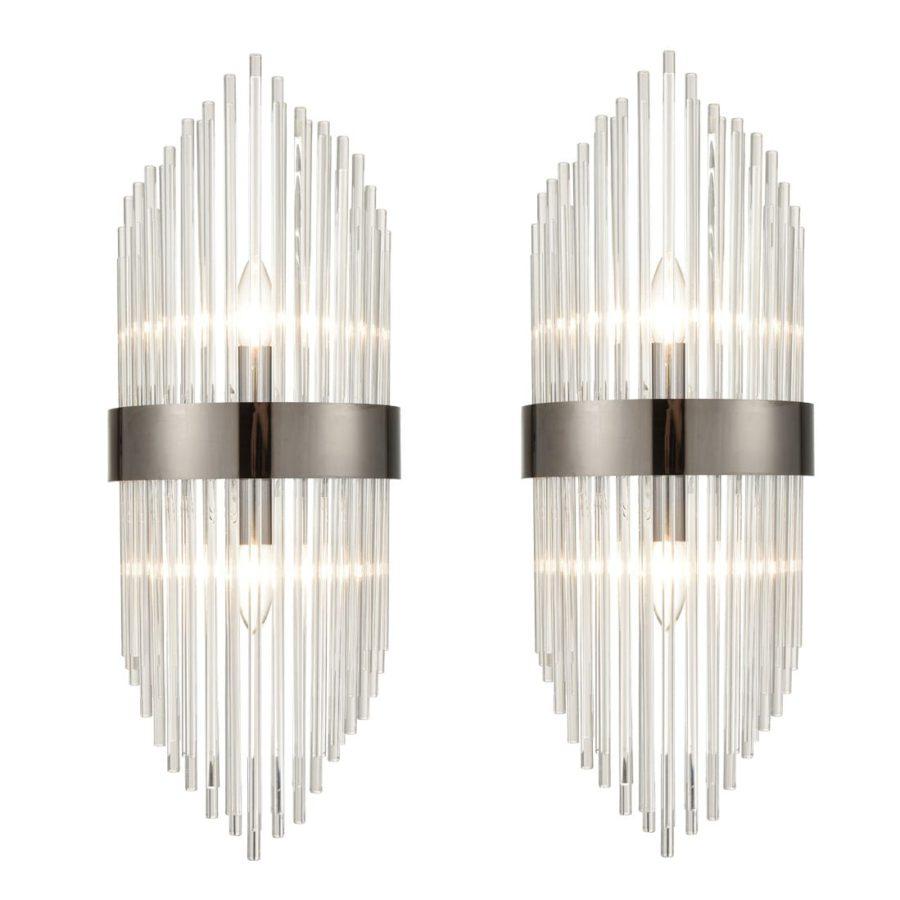 Mid-Century Elegant Glass Rod Wall Sconces Lighting Set of 2