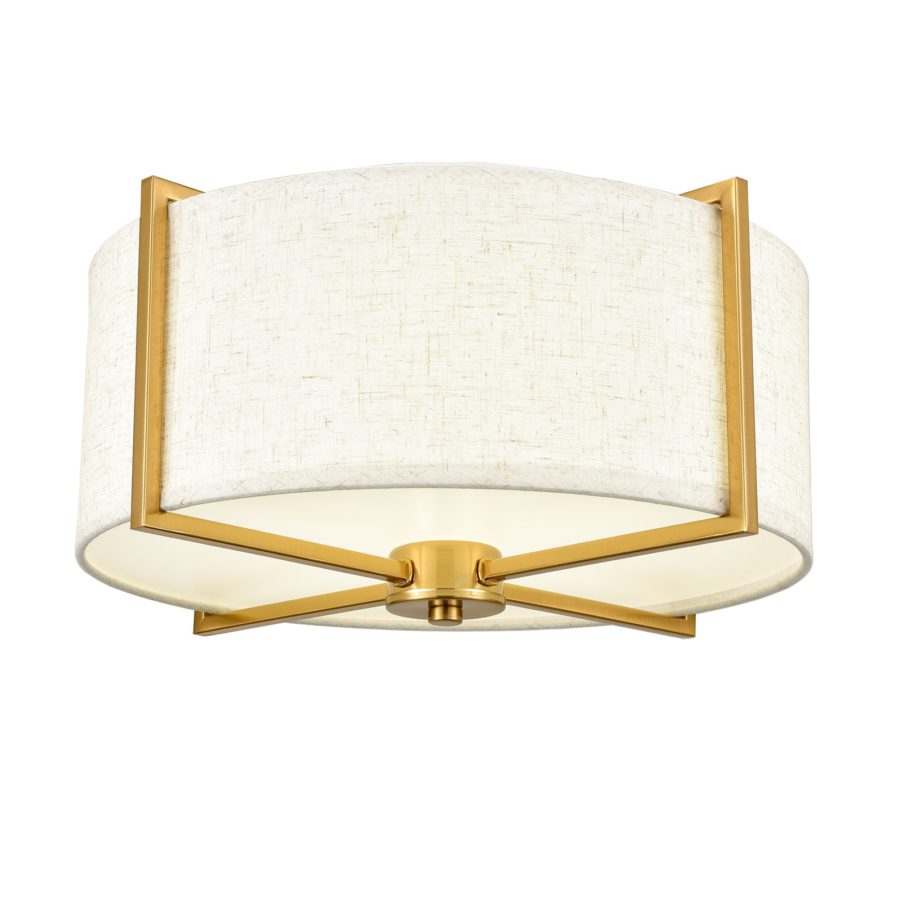 Mid Century Fabric Drum Shade Gold Flush Mount Ceiling Light