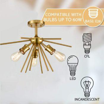 Mid Century Modern Ceiling Light Brass Sputnik Chandeliers