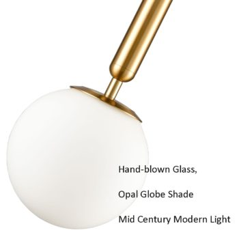 Mid Century Modern Globe Pendant Light Fixture in Gold Finish