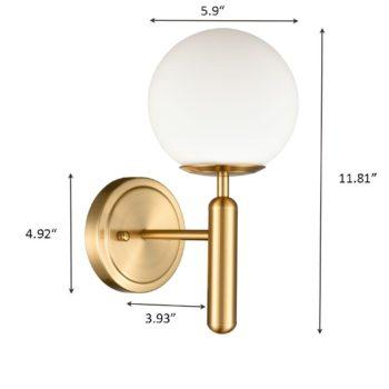 Mid-Century Modern Wall Light with Opal Globe Shade Brass Finish