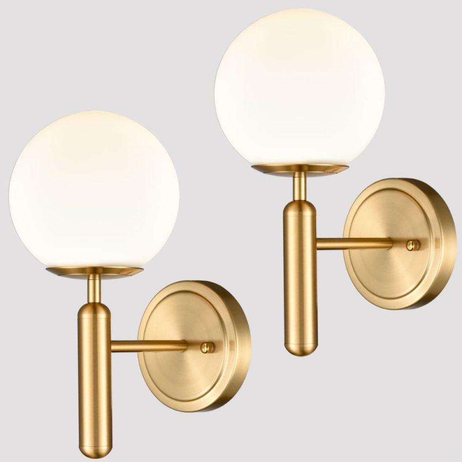 Mid-Century Modern Wall Sconces with Opal Globe Shade Brass 2-Pack