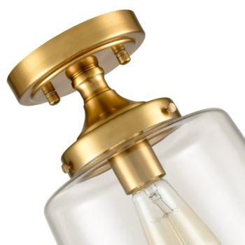 Mid-Century Retro Brass Glass Ceiling Lights Modern Semi Flush Mount