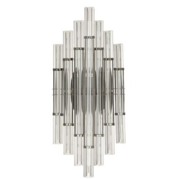 Mid-Century Wall Sconce Lighting Black with Glass Rod 2-Light