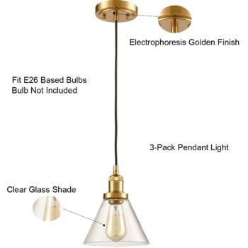Mini Brass Industrial Pendant Lamp-3 Pack Glass Fixture