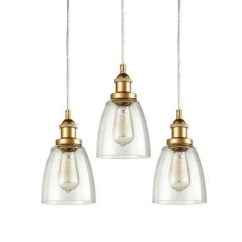 Brass Mini Modern Industrial Pendant Light Glass Bell Light Fixture