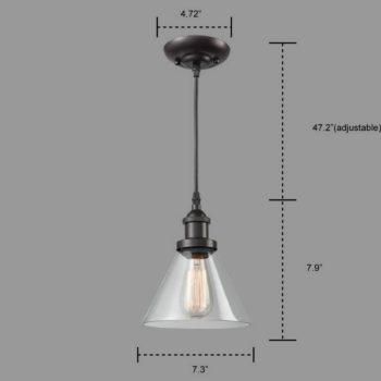 Industrial Bronze Pendant mini Cone Glass Kitchen Light