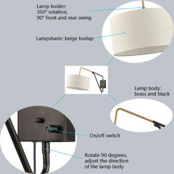 Mid-Century Fabric Plug-in Wall Light Swing Arm Wall Lamp