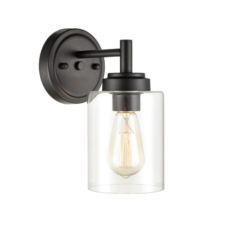 Modern Black Wall Sconces 1 Light Bathroom Vanity Light Fixture