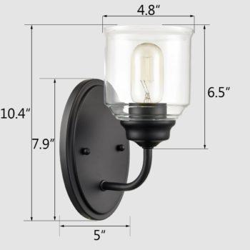 Modern Black Wall Sconces 2-Pack Bathroom Vanity Wall Light Fixture