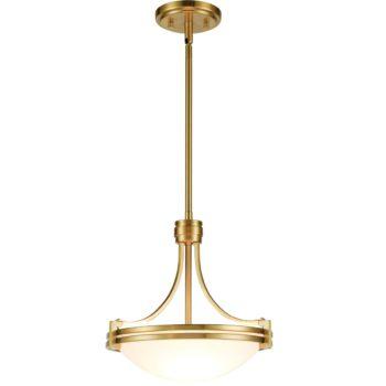 Modern Brass 2-Light Pendant Lighting Fixture Height Adjustable
