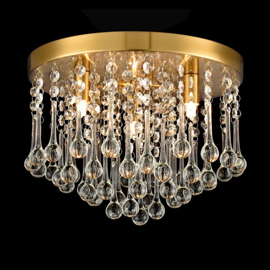 Modern Brass Crystal Ceiling Light 3-Light Flush Mount Light Fixture