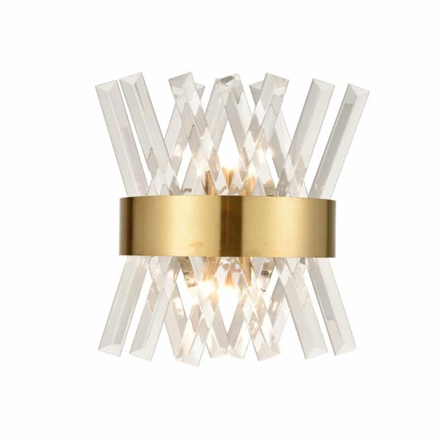 Modern Brass Crystal Wall Sconce Lighting Fixture 1-Pack