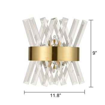 Modern Brass Crystal Wall Sconce Lighting Fixture 2 Pack