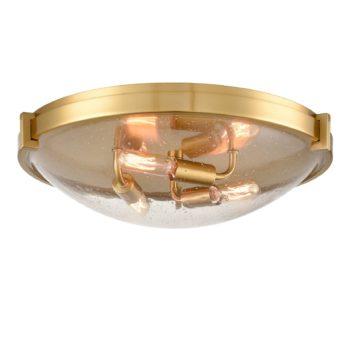 Modern Brass Flush Mount Ceiling Light Seeded Glass Shade-3 Lights
