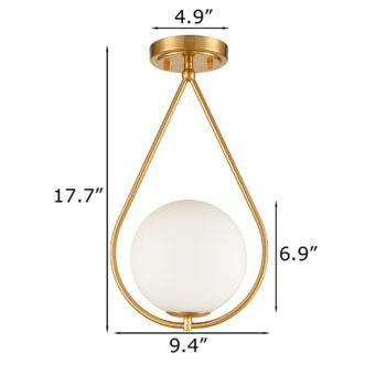 Modern Brass Flush Mount Ceiling Light Ivory Glass Shade