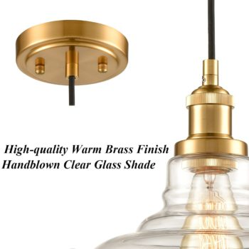 Brass Modern Glass Pendant Lights Barn Shape Kitchen Lamps