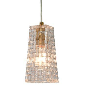 Modern Brass Glass Pendant Lights Woven-Like Glass Shade