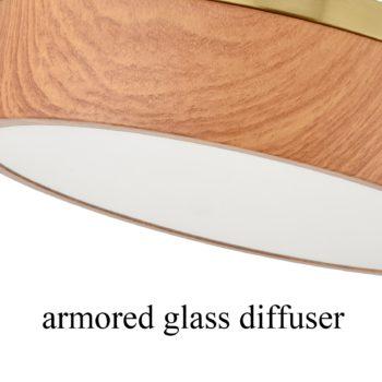 Modern Brass LED Flush Mount Ceiling Light Wood Grain Round Light