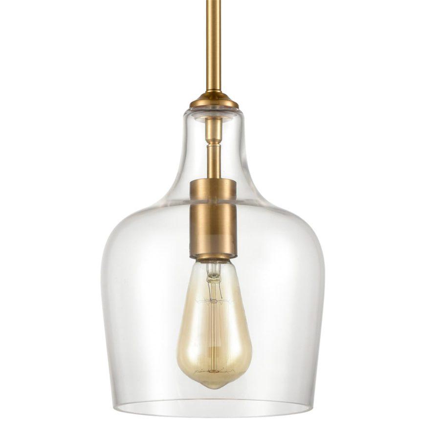Modern Brass Pendant Light Glass Rod-Hung Pendant for Kitchen