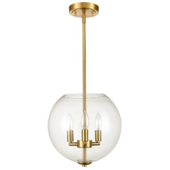 Modern Brass Pendant Light for Kitchen Island with Clear Glass Shade