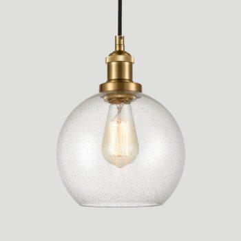 Modern Brass Globe Seeded Glass Pendant Lights Golden Finish